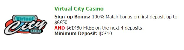 Bonuses @Virtual City Casino